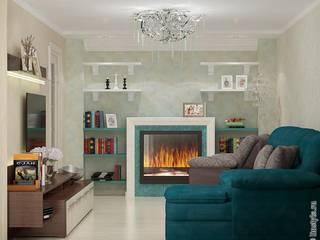 Дизайн-проект квартиры «Современная усадьба»: Гостиная в . Автор – Дизайн-бюро «Линия стиля»