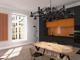 Industrialnie z akcentem pomarańczy: styl , w kategorii  zaprojektowany przez BOOM studio