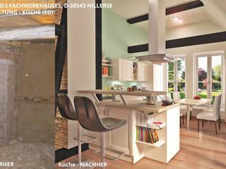 Fachwerkhaus Hillerse - Küche (EG):   von GID│GOLDMANN - Innenarchitekt in Sehnde