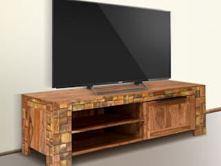 TV-Bank Quadrat 1türig Palisander Mosaik massiv Holz lackiert Möbel Wohnzimmer Lowboard:   von Moebelkultura.DE