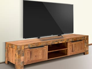 TV-Bank Quadrat 2türig Palisander Mosaik massiv Holz lackiert Möbel Wohnzimmer Lowboard:   von Moebelkultura.DE