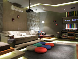 Modern media room by CM 2 CASARIN MONTEIRO ARQUITETURA & INTERIORES Modern
