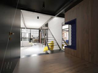 PROJEKT KONCEPCYJNY WNĘTRZ LOFTU O INDUSTRIALNYM CHARAKTERZE Industrialny korytarz, przedpokój i schody od AAW studio Industrialny