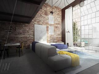 PROJEKT KONCEPCYJNY WNĘTRZ LOFTU O INDUSTRIALNYM CHARAKTERZE Industrialny salon od AAW studio Industrialny