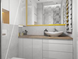 NOWOCZESNA KAWALERKA DLA MŁODEGO MAŁŻEŃSTWA Nowoczesna łazienka od AAW studio Nowoczesny