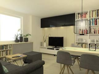 projekt pokoju dziennego w niewielkim mieszkaniu w bloku Nowoczesny salon od Pracownia Projektowa 4MAT Wojciech Balcerzak Nowoczesny