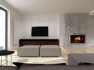 projekt wnętrz domu jednorodzinnego Nowoczesny salon od Pracownia Projektowa 4MAT Wojciech Balcerzak Nowoczesny