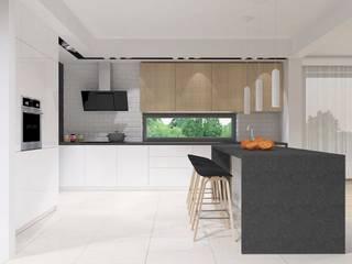 projekt wnętrz domu jednorodzinnego Nowoczesna kuchnia od Pracownia Projektowa 4MAT Wojciech Balcerzak Nowoczesny