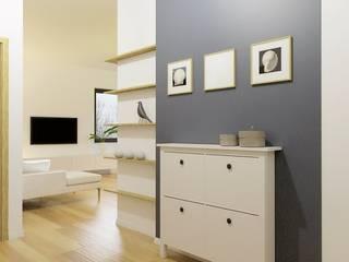 projekt mieszkania Skandynawski korytarz, przedpokój i schody od Pracownia Projektowa 4MAT Wojciech Balcerzak Skandynawski