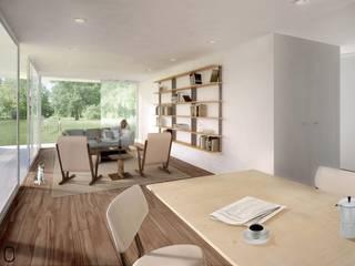 Moradia em São Miguel do Rio Torto: Salas de estar  por Modo Arquitectos Associados,Moderno Madeira Acabamento em madeira