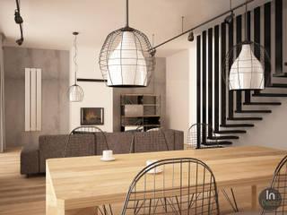Projekt jadalni i salonu: styl , w kategorii Jadalnia zaprojektowany przez InDecor Agnieszka Ligęza