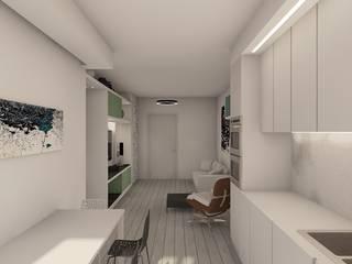 open space: Sala da pranzo in stile in stile Moderno di RDstudioarchitettura - daniele russo architetto
