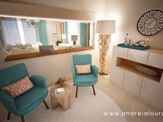 Projecto - Salas, Balcão e Entrada: Salas de estar  por Andreia Louraço - Designer de Interiores (Contacto: atelier.andreialouraco@gmail.com)
