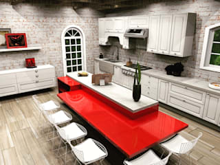 MV Arquitetura e Design Country style kitchen Bricks Red