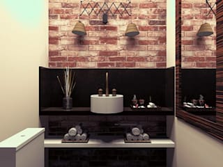 MV Arquitetura e Design BathroomDecoration Bricks Wood effect