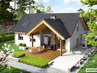 PROJEKT DOMU SIMON (MAŁY) G2 – nowoczesny dom z możliwością rozbudowy: styl , w kategorii Domy zaprojektowany przez Pracownia Projektowa ARCHIPELAG,Nowoczesny