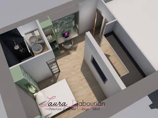 Agencement & Décoration d'une suite parentale Laura Djabourian Architecture d'intérieur Chambre moderne Bois massif Vert