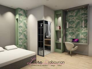 Perspective coin bureau chambre salle d'eau: Chambre de style  par Laura Djabourian Architecture d'intérieur