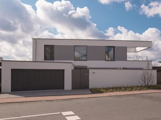 Ansicht Nord, Straße: minimalistische Häuser von BPLUSARCHITEKTUR