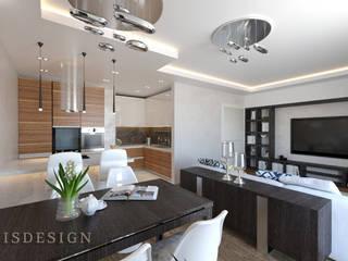 ISDesign group s.r.o. Minimalist living room Wood Brown