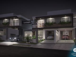 Vista frontal noturna: Casas  por studio vtx