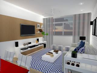 Estudo Apartamento Icaraí: Salas de estar  por JS Interiores,Moderno