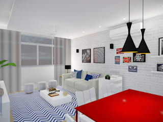 Estudo Apartamento Icaraí: Salas de jantar  por JS Interiores,Moderno