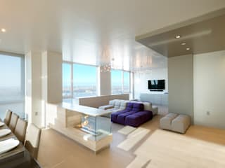 Luxury Apartment Combination:  Living room by Andrew Mikhael Architect,