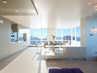 Luxury Apartment Combination:  Dining room by Andrew Mikhael Architect,