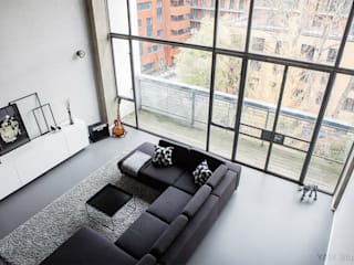 Old Street Duplex YAM Studios Industrial style living room Grey