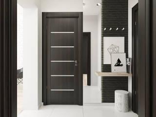 Schwarz-Weiß-Haus FOORMA Minimalistischer Flur, Diele & Treppenhaus