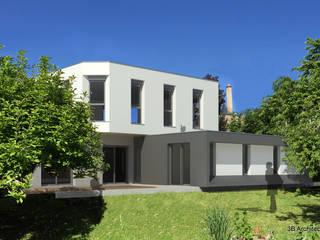 Vue de l'insertion de l'extention et de la rénovation extérieure de la maison: Maisons de style  par 3B Architecture