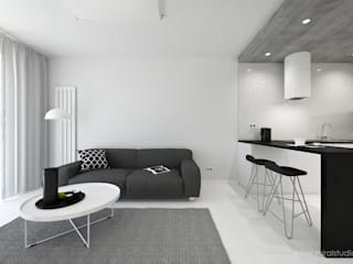 MIRAI STUDIO Living room Concrete White