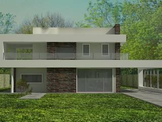 Este proyecto se inicio teniendo como idea principal una cinta blanca q va unificando todas las piezas de la casa.: Casas de estilo  por arquitectura siglo XXI