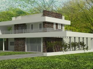 Este proyecto se inicio teniendo como idea principal una cinta blanca q va unificando todas las piezas de la casa.: Casas de estilo minimalista por arquitectura siglo XXI