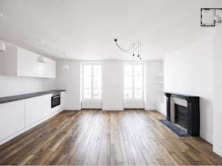 Restructuration d'1 appartement à Paris 20ème: Salon de style  par GALI Sulukjian Architecte
