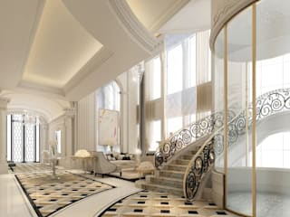 Exploring Luxurious Homes : Lobby Interior Design IONS DESIGN Classic style corridor, hallway and stairs Marble Metallic/Silver