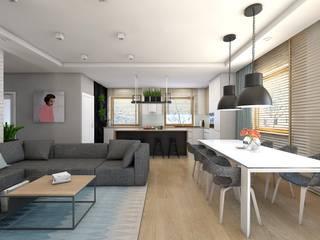 Projekt domu jednorodzinnego 8 Nowoczesny salon od BAGUA Pracownia Architektury Wnętrz Nowoczesny