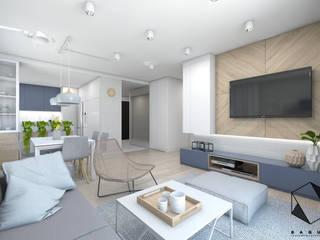 Projekt mieszkania 3 Nowoczesny salon od BAGUA Pracownia Architektury Wnętrz Nowoczesny