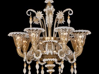 Murano Glass Chandelier - classic gold glass and white decorations chandelier - ZIANI von YourMurano Lighting UK Klassisch