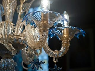 Murano Glass Chandelier - classic crystal blue details with gold leaf chandelier - DA PONTE von YourMurano Lighting UK Klassisch
