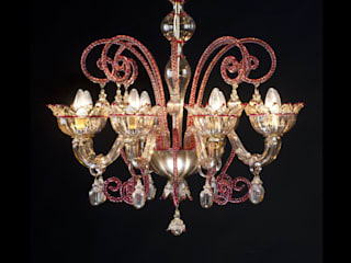 Murano Glass Chandelier - classic rd and amber glass chandelier - MOCENIGO de YourMurano Lighting UK Clásico