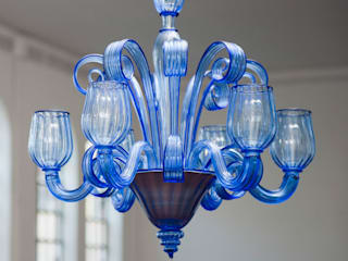Murano Glass Chandelier - modern clear blue chandelier - CELSI de YourMurano Lighting UK Moderno