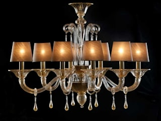 Murano Glass Chandelier - modern gold r dark lampshades glass chandelier - BEMBO de YourMurano Lighting UK Moderno