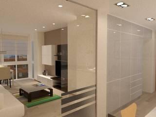 REHABILITACIÓN INTEGRAL DE UNA VIVIENDA EN EL BARRIO DE LES CORTS: Salones de estilo moderno de Estudio Arquitectura Ricardo Pérez Asin