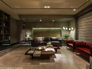 Living por Carolina Mota - Arquitetura, Interiores e Iluminação Moderno