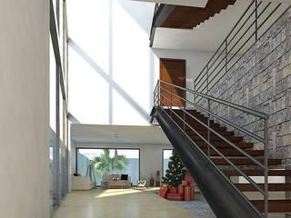 Casa Castañón Pasillos, vestíbulos y escaleras modernos de AParquitectos Moderno