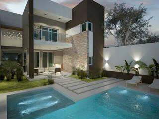 Diseño de patios pequeños con piscina : Piletas de estilo  por FILIPPIS/DIP - DISEÑO Y CONSTRUCCION