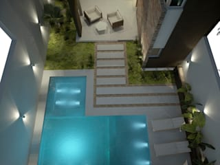 Diseño de patios pequeños con piscina FILIPPIS/DIP - DISEÑO Y CONSTRUCCION Piscinas de estilo moderno Concreto