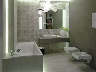 Box łazienkowy w katowickim salonie MAX-FLIZ: styl , w kategorii Łazienka zaprojektowany przez NOBO DESIGN Aleksandra Huras